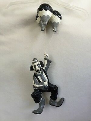Hanging Clown with Balloons Papier-Mâché Mexico Folk Art Black Gray White