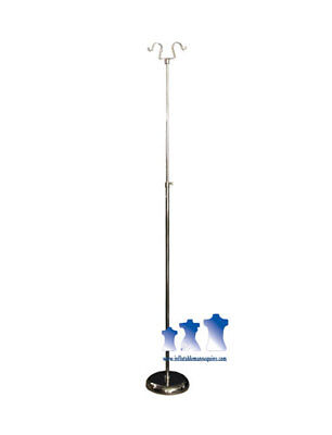 "Tall Chrome Adjustable Double Hook Stand w/ 10"" Round Base"