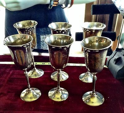 """6 Beautiful  Engraved Antique Vintage Wine Glass Goblets. """"sarabia"""""""