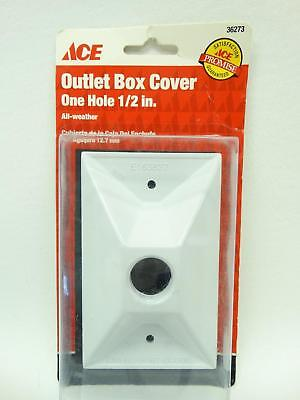 "NEW Ace 36273 White Single Gang One 1/2"" Hole All Weather Outlet Box Cover"