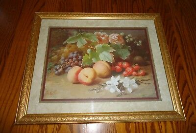Vintage Home Interiors Fruit Picture Homco K. Robbe Artist Print Gold Frame Wood