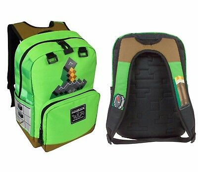 "New Minecraft Pickaxe Adventure 17"" Backpack w Green Sword Graphics NWT"