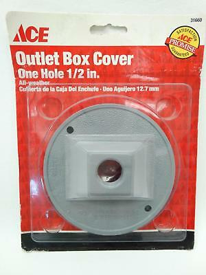 "NEW Ace 31660 Grey Round One Hole 1/2"" All Weather Outlet Box Cover"