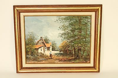 Vintage Oil on Canvas Impressionist Art Cottage Scene Painting P. Miller Signed