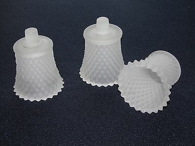 3 Vintage Homco/home Interior White Frosted Glass Diamond Candle Votive Cups