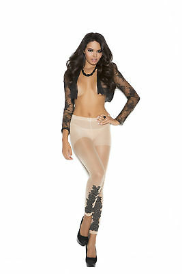Elegant Moments, Sheer Leggings W/Floral Design