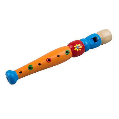 SS 1x Wooden Flute Toy Kids Music Educational Toy--Random Color