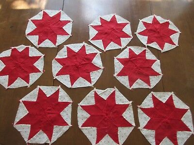 Antique/Vintage Quilt Blocks - Red 8 Pointed Star - early 1900's