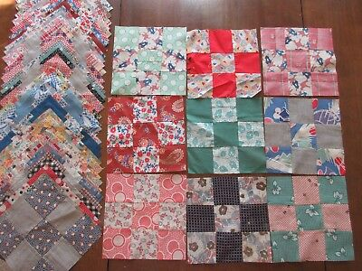 Antique/Vintage Quilt Blocks - 9 Patch - machine sewn in the early 1900's