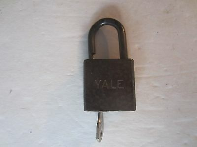 Vintage Padlock w/ Key Lock YALE Solid Forged Steel Hammered Look