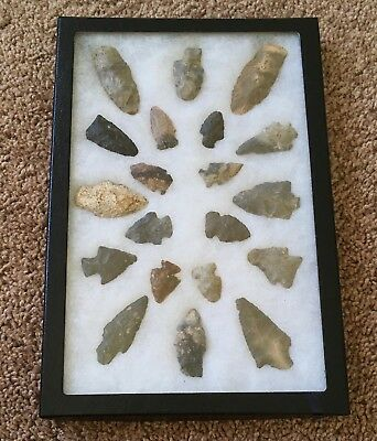 Collection of 20 Native American Arrowheads with frame