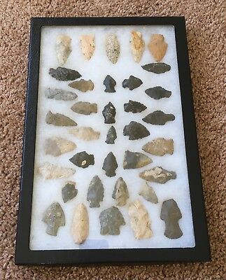 Collection of 36 Native American Arrowheads with frame
