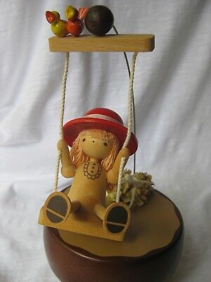 "Vintage Schmid, #209, Wood Music Box: Girl on Swing; Plays ""It's a Small World"""