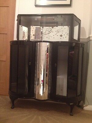 Cocktail Cabinet Art Deco 1960's Retro Gloss Back French Polished