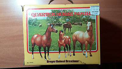 Breyer Animal Creations hand painted Quarter Horse Family Model No 3045 with box