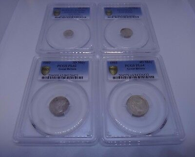 1882 Victoria Great Britain UK Maundy Set PCGS CERTIFIED UNC- PL64 1 2 3 4 Pence