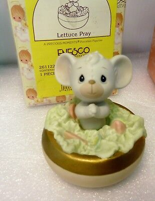 Precious Moments - Lettuce Pray- mouse praying in a bowl of lettuce
