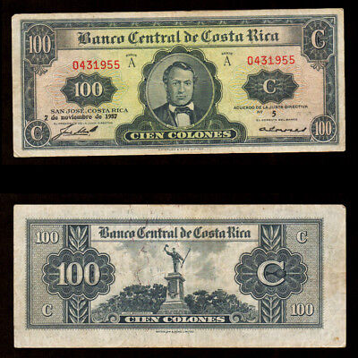Costa Rica 100 Colones 1957 Series A Banknote Waterloo & Sons VF Circulated