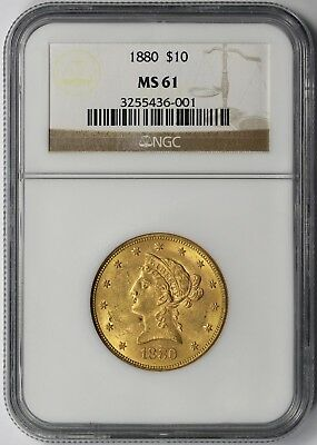1880 Liberty Head Eagle Gold $10 MS 61 NGC