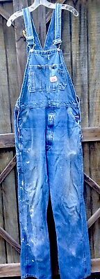 Round House Bib Overalls Denim 36 x 34 Pre Owned Pant Stain