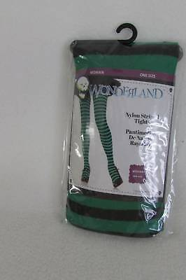 NEW Womens 1 Size Green & Black Striped Halloween Accessory Witch Tights