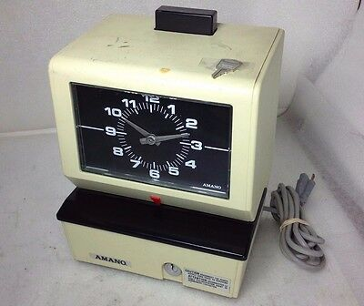 Vintage Amano 3636 Time Card Clock W/Key USED TESTED WORKING GENUINE