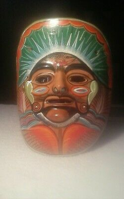 "Unusual Aztec mayan pottery mask wall sculpture bout 9 x 7.25"" mexican pottery"