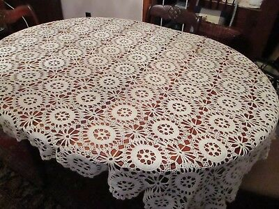 Vintage Hand made Ivory Crochet Lace tablecloth 72 x 56""