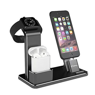 Apple Watch Stand Charging Docks for Apple Watch/ AirPods/ iPhone 8 & More Black