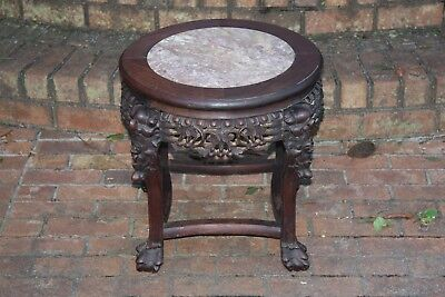 Antique Marble Asian Stand Chinese Dragon Table Hand Carved  Ball and Claw Round