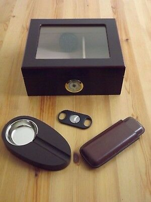 Cherry Glass Top Desktop 50 Cigar Count Humidor Cigar Ashtray Case & Cutter Set