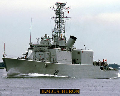 Royal Canadian Navy Destroyer Hmcs Huron Ddh281 Photo With Bonus Stat Sheet