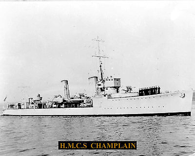 Royal Canadian Navy Destroyer Hmcs Champlain Photo With Bonus Stat Sheet