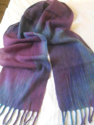 Beautiful Handwoven In Ireland Fine Wool Scarf Purples And Blues