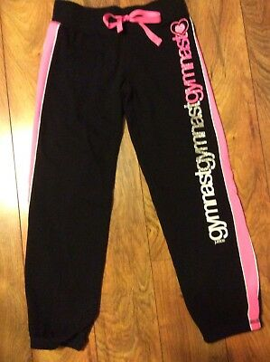 Justice Girl's Gymnastics Black And Pink Sweatpants Size 10