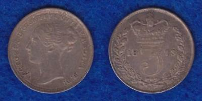 Great Britain Silver Three Pence 1873 Xf Toned  ---  Olxl