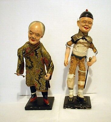 Pair Antique Chinese Enameled Composition Opera Dolls Early 1900's