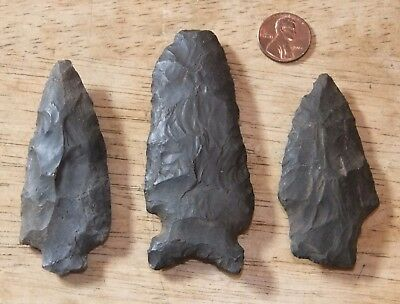 "3 lot Original IROQUOIS Native American ARROWHEADS, ~3"", Found Upstate New York"
