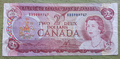 1974 Canadian Two dollar bill Canada banknote No Rips, tears, holes, or writing!