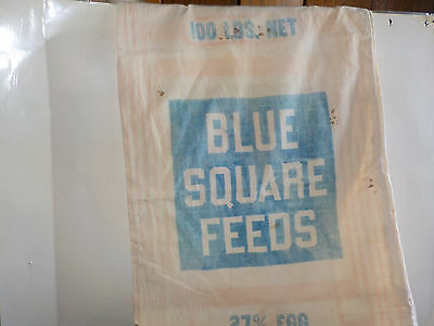 """BLUE SQUARE FEEDS 27% EGG CONCENTRATE  FEED SACK VTG SIZE 36x19.5"""""""