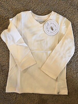 Burts Bees Baby Long Sleeved Shirt White Unisex New NWT sz 2T 24 Months