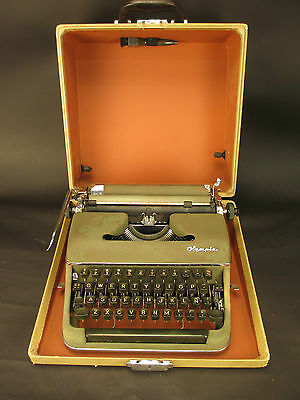 Vintage Olympia SM2 Portable Typewriter With Original Case