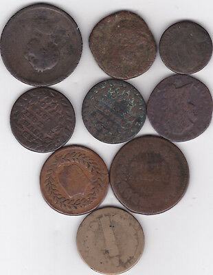 9 Very Old European coins from around 1700's