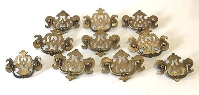 Vintage BRASS Dresser Pulls Lot 8 Large 2 Smaller Beautiful Ornate Elegance