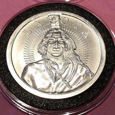 Lakota Nation Crazy Horse Indian Warrior 1 Troy Oz .999 Fine Silver Round Coin