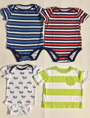 Baby Boys 3 Bodysuits and A Shirt: Lot of 4-pcs. Size:12 M Brand: Jumping Beans