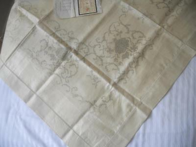 Vintage Traced Pure Linen Table Cloth X Cross Stitch Embroidery Roses Design
