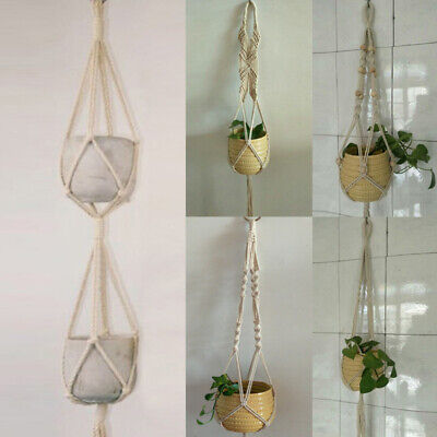 Macrame Plant Hanger Pot Holder Hanging Planter Basket Jute Braided Rope NEW