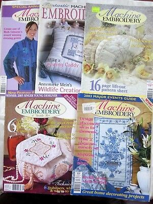 MACHINE EMBROIDERY Magazines x 5 - Applique, Overlocking, Heirlooms, Quilts, etc
