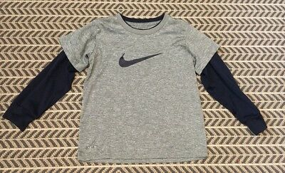 Boys Nike Dri-Fit Long Sleeve Shirts Size 6 Years Navy and Gray